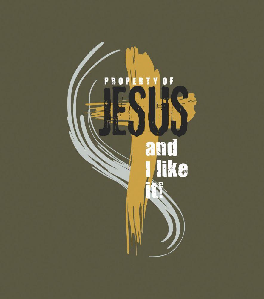 PROPERTY OF JESUS pánské triko vojenská zelená