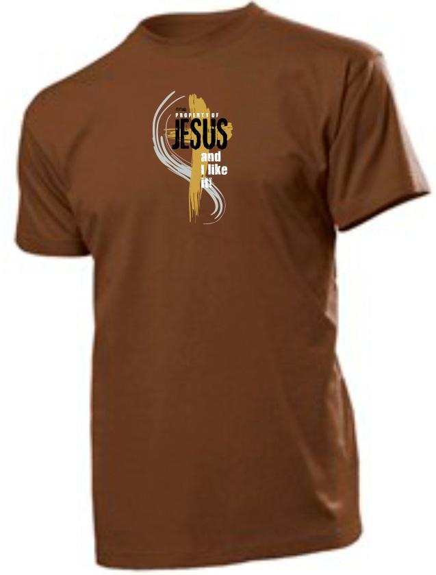 PROPERTY OF JESUS pánské triko hnědá