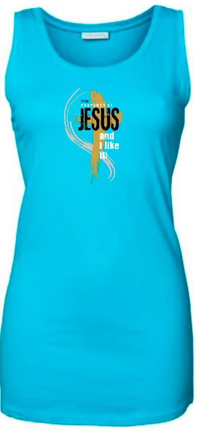 PROPERTY OF JESUS dámské tílko světle modrá