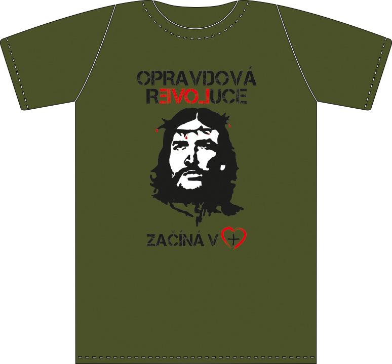 OPRAVDOVÁ REVOLUCE pánské triko vojenská zelená (military green)